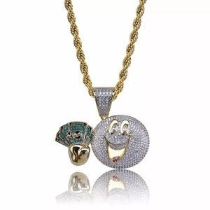 "Other - 14k Gold Emoji Money Micro Pave Pendant 24"" Chain"